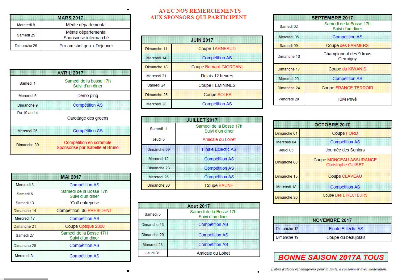 calendrier des compétitions